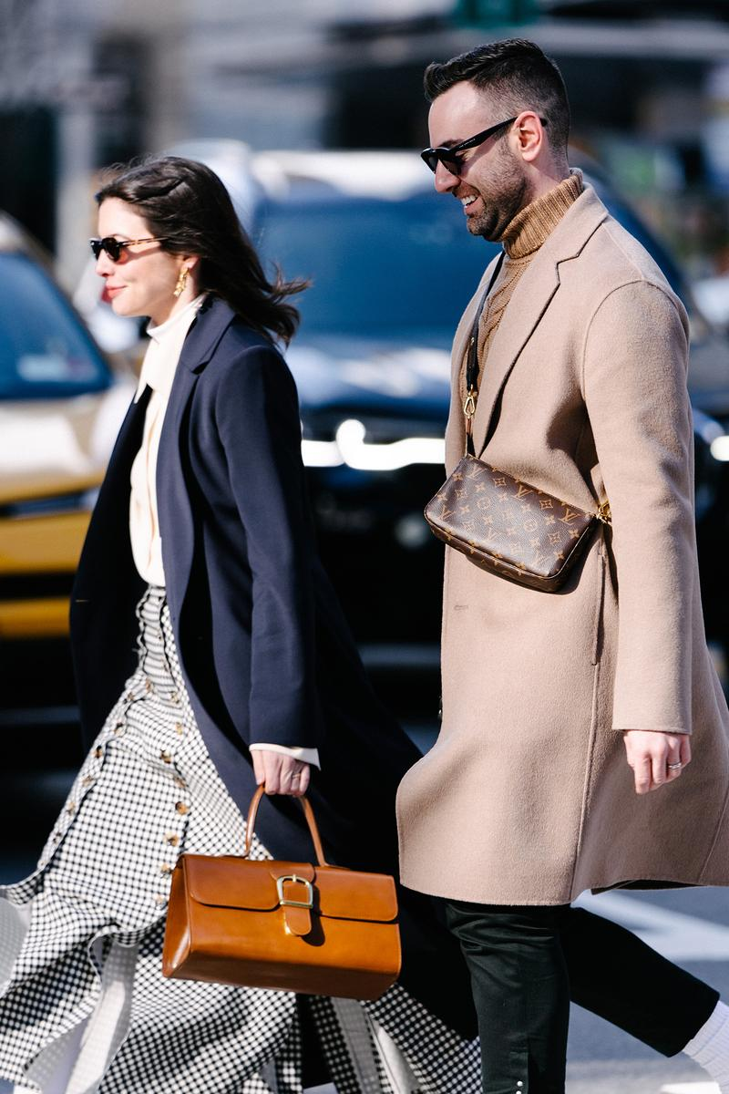 Influencer Couple New York Fashion Week FW20 NYFW Fall Winter 2020 Street Style Influencers Louis Vuitton Bag