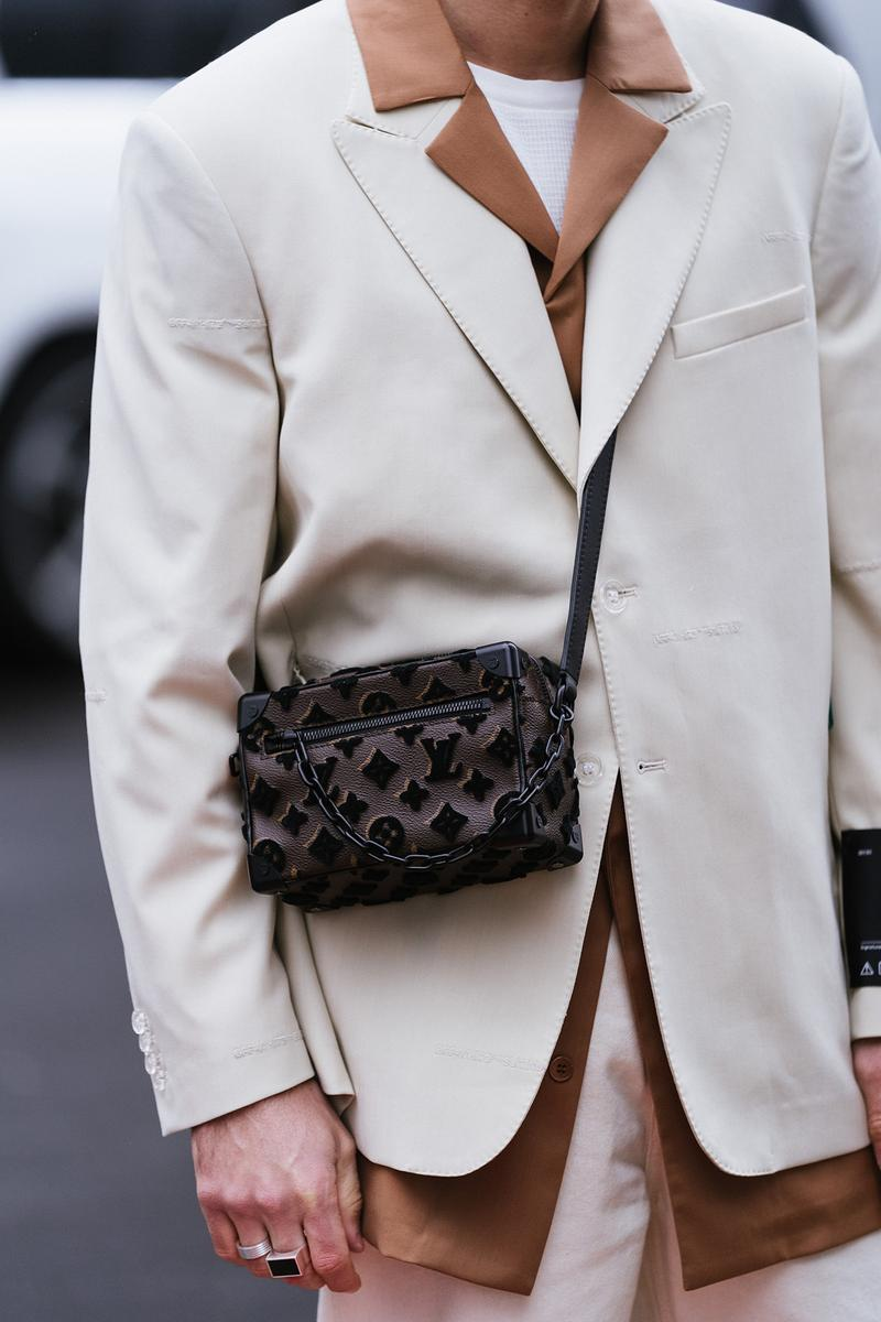 Louis Vuitton Mini Soft Trunk Spring Summer Beige Suit js Roques Influencer New York Fashion Week FW20 NYFW Fall Winter 2020 Street Style