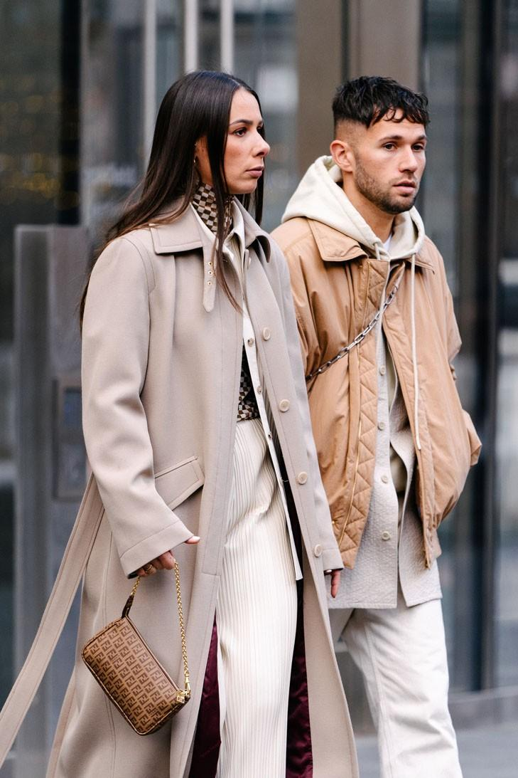 Alice Barbier js Roques Influencer Couple New York Fashion Week FW20 NYFW Fall Winter 2020 Street Style Influencers Fendi Bag Beige Tan