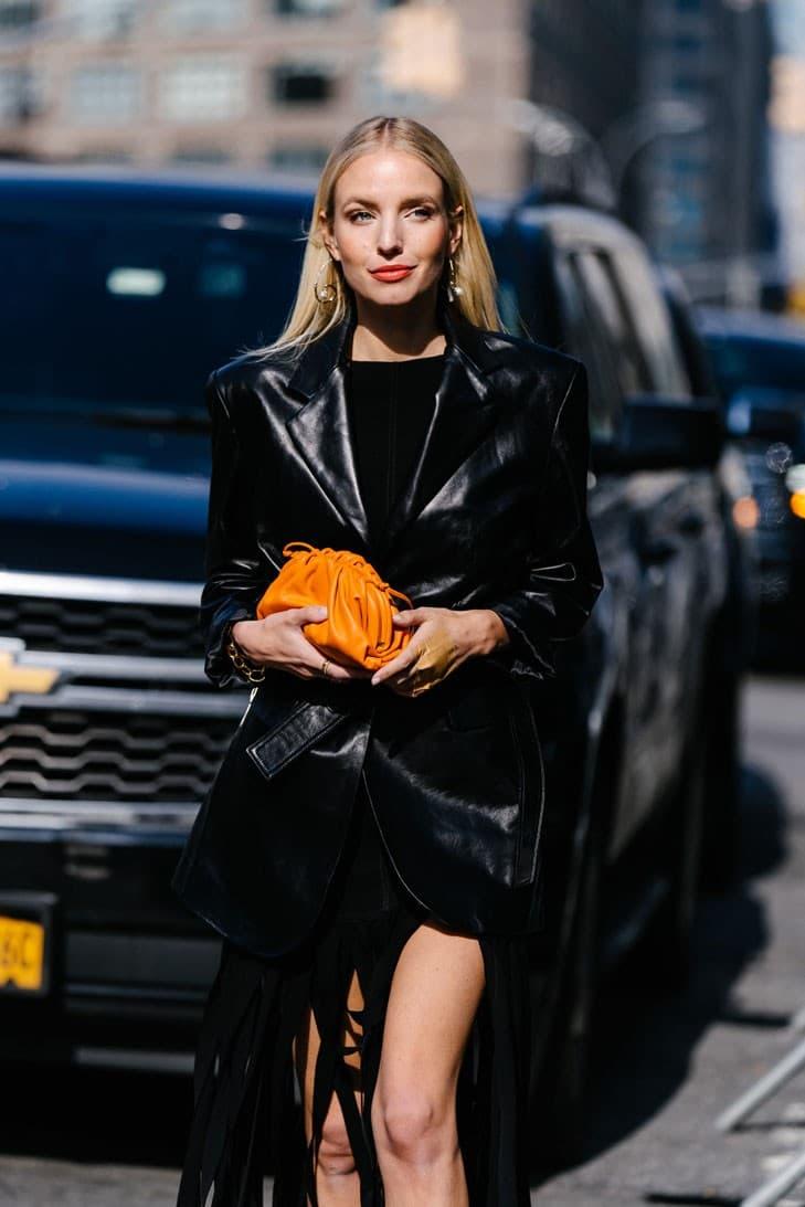 New York Fashion Week FW20 NYFW Fall Winter 2020 Street Style Influencer Bottega Veneta Mini The Pouch Orange