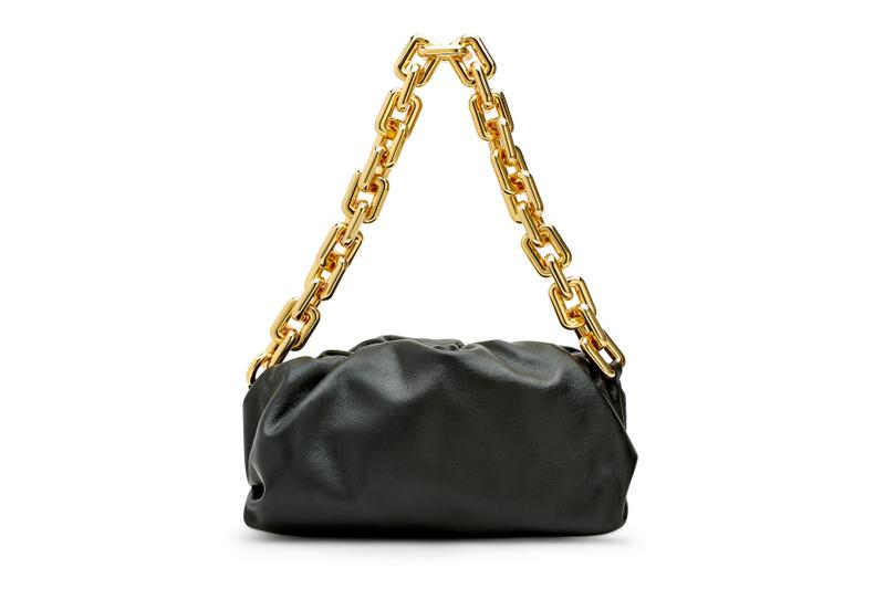 Bottega Veneta Black Pouch Bag Gold Chain Release