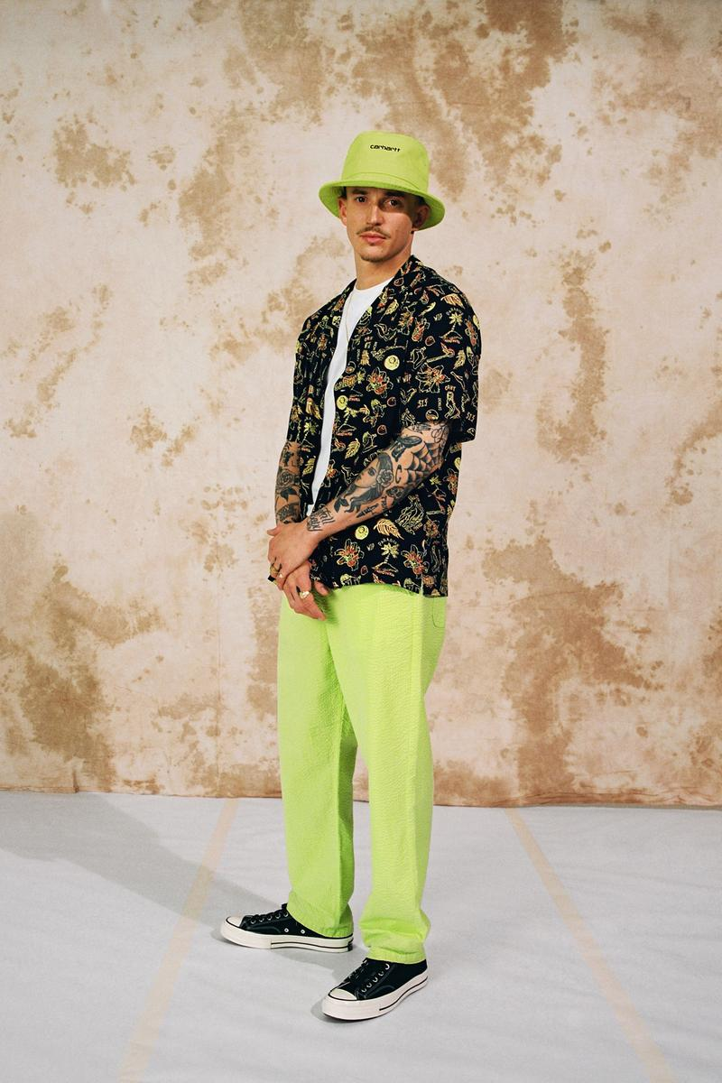 Carhartt WIP Spring/Summer 2020 Collection Southfield Pant Script Bucket Hat Lime Paradise Shirt