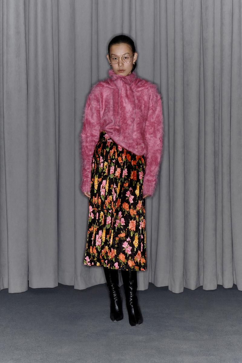 Commission Fall/Winter 2020 Collection Lookbook Angora Sweater Floral Skirt