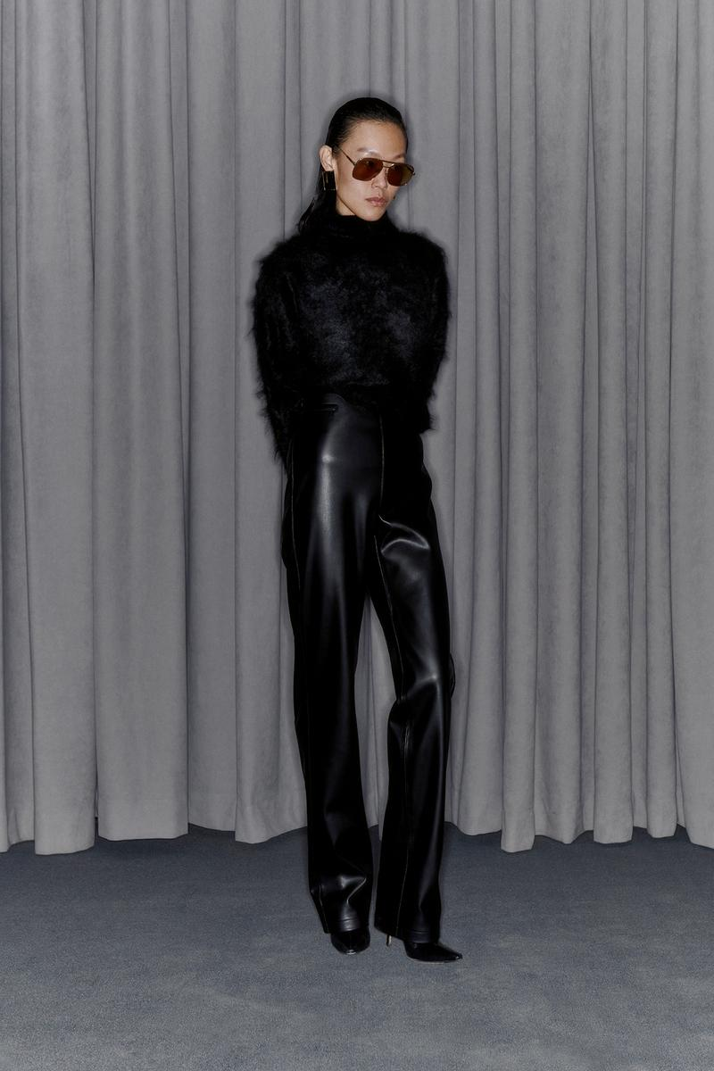 Commission Fall/Winter 2020 Collection Lookbook Angora Sweater Leather Pants Black