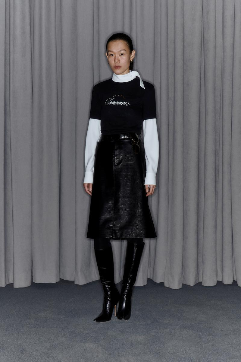 Commission Fall/Winter 2020 Collection Lookbook T-Shirt Leather Skirt Black