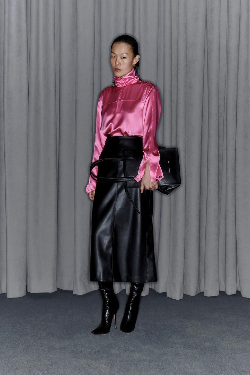 Commission Fall/Winter 2020 Collection Lookbook Silk Top Pink Leather Skirt