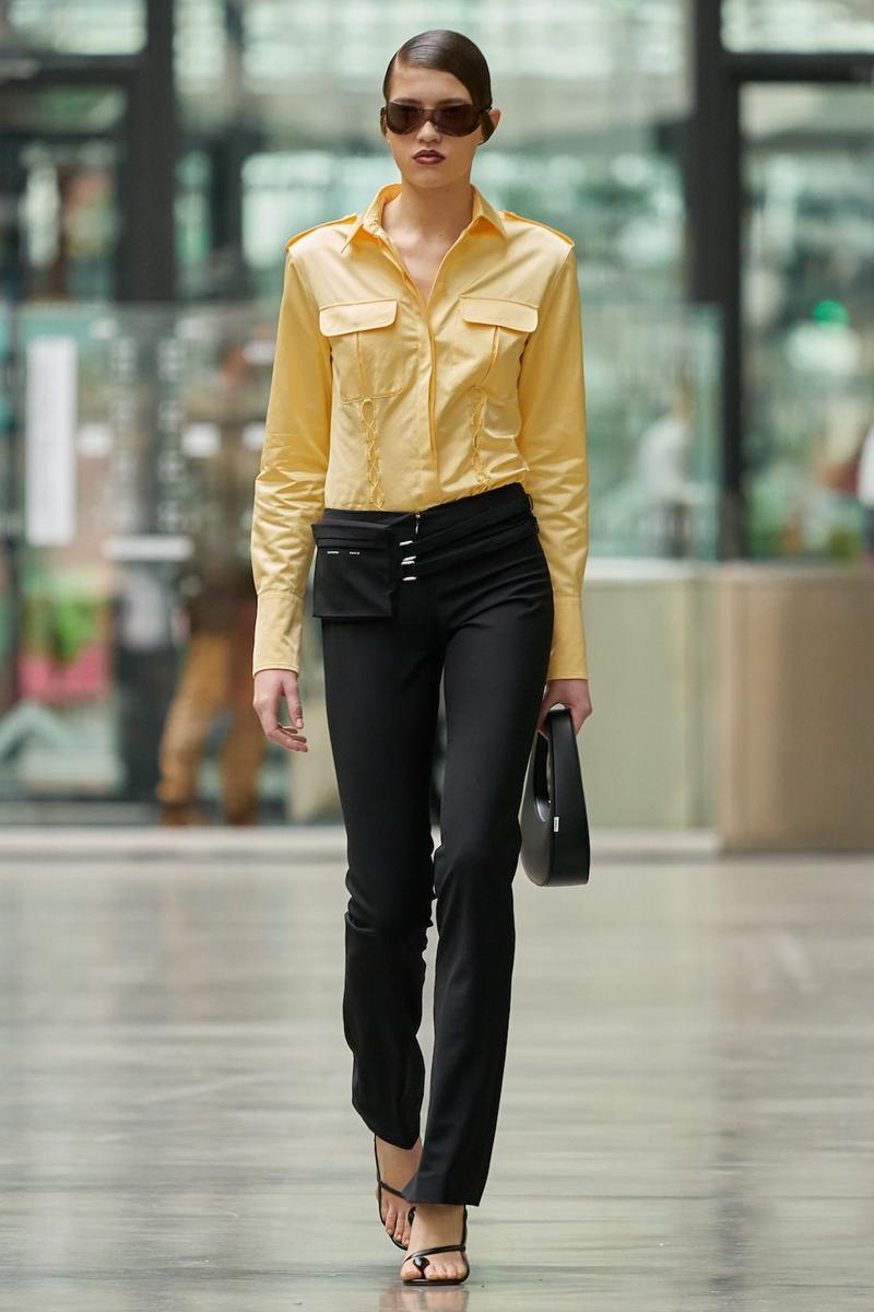 coperni sebastien meyer arnaud vaillant paris fashion week fall winter collection yellow long sleeve shirt black pants