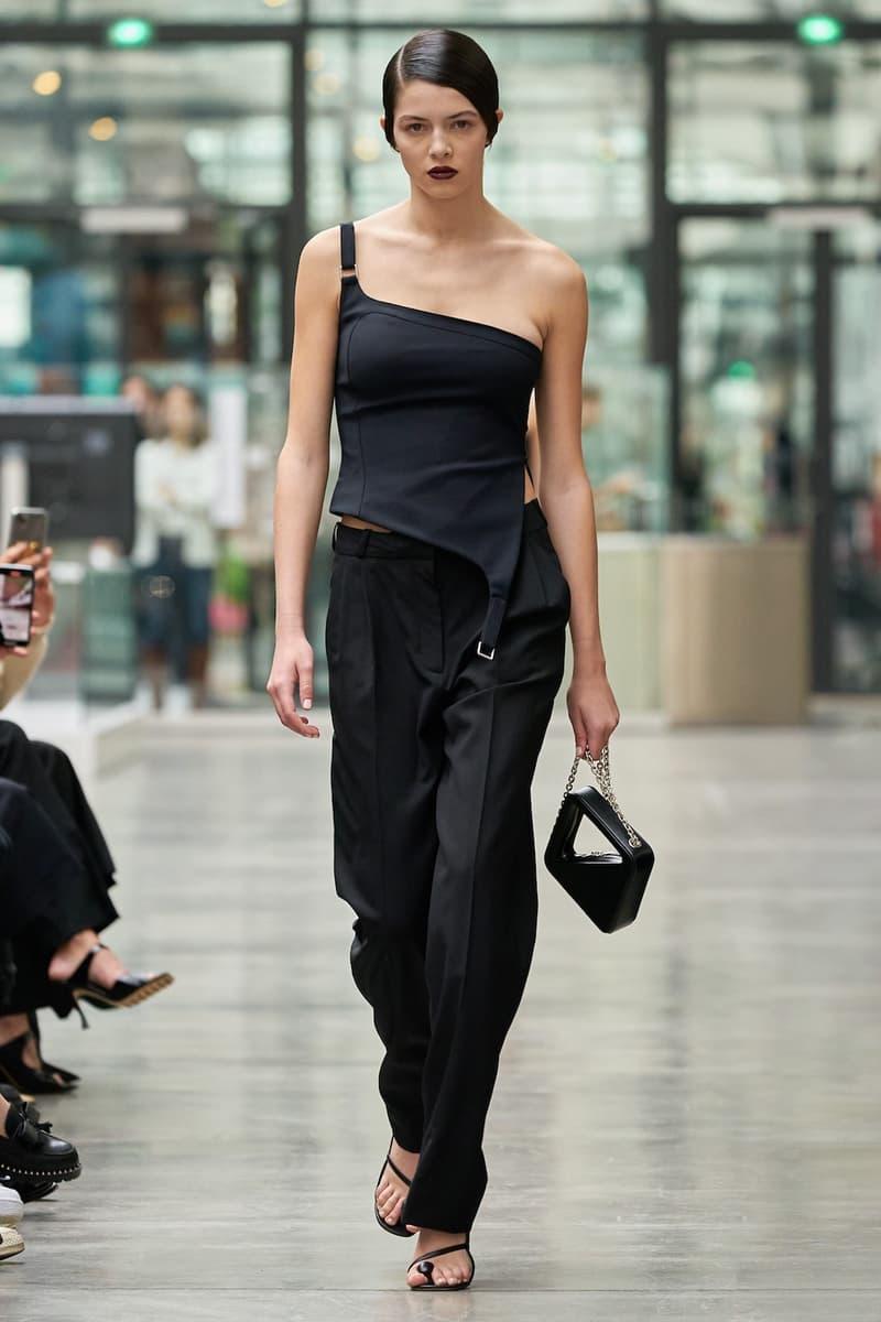 coperni sebastien meyer arnaud vaillant paris fashion week fall winter collection one shoulder top black pants bag