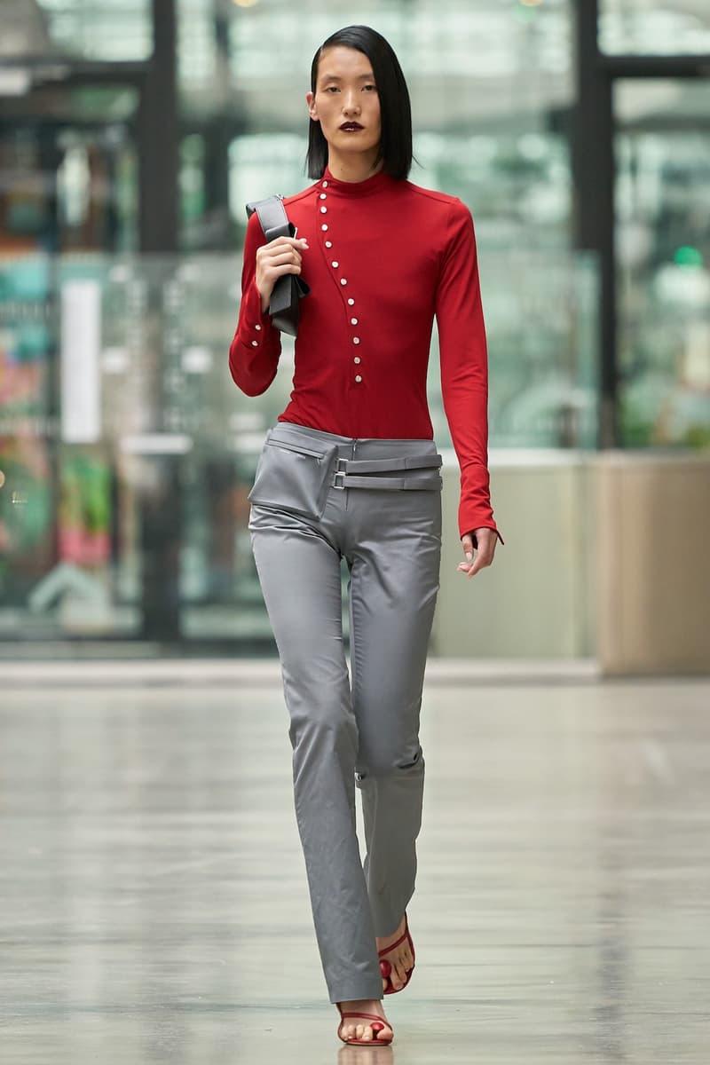 coperni sebastien meyer arnaud vaillant paris fashion week fall winter collection red long sleeve top grey silver pants
