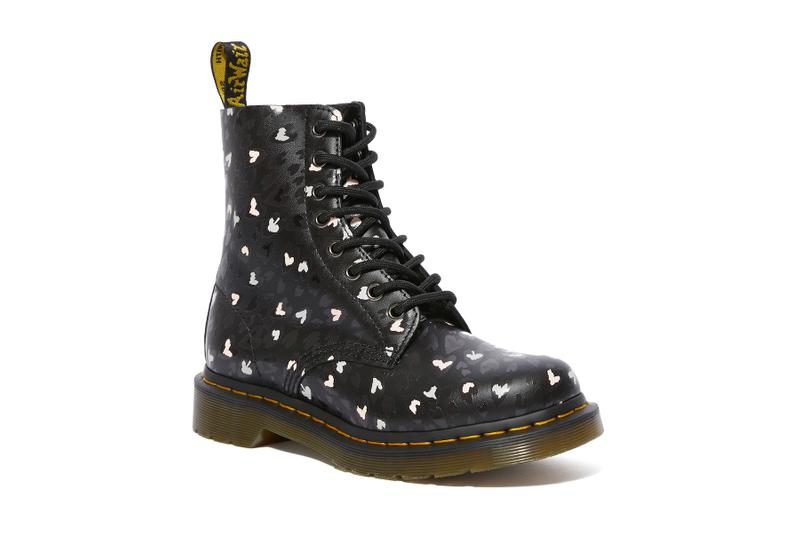 Dr. Martens Chaos Heart Collection Valentine's Day Boots Graphic Print Black White