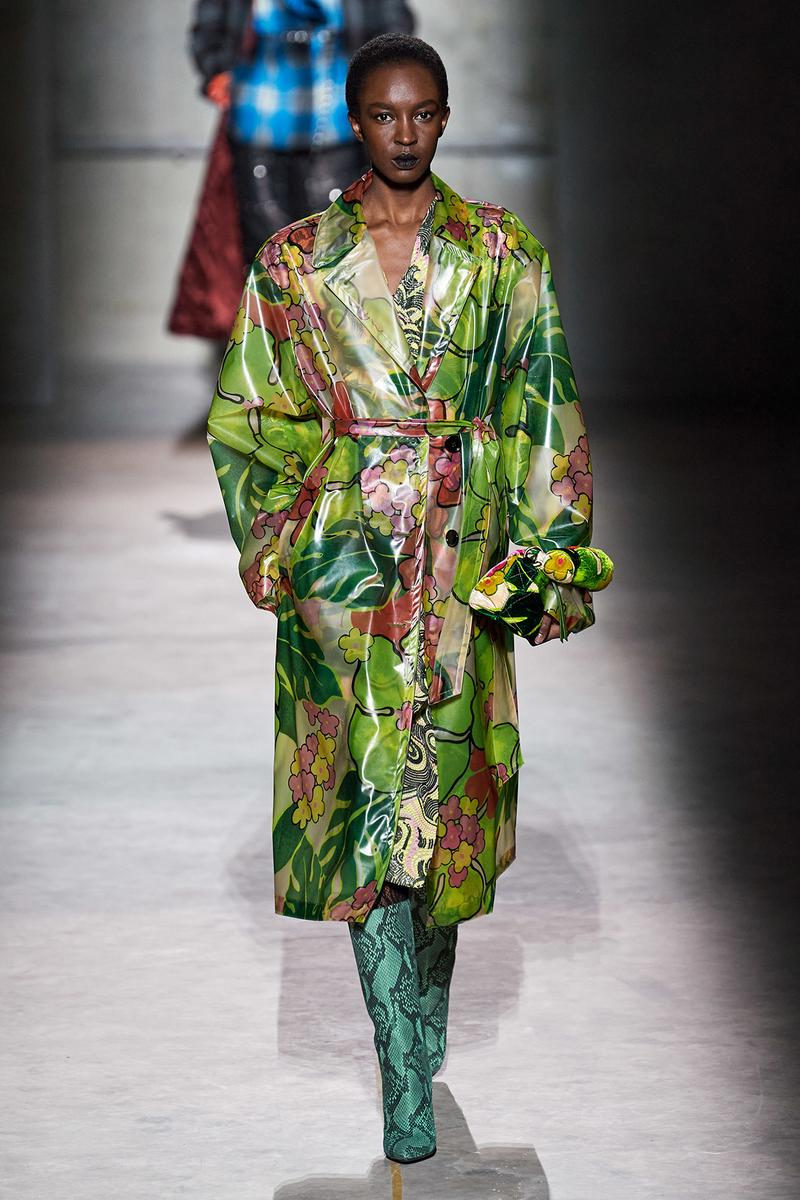Dries Van Noten Fall/Winter 2020 Collection Runway Show Floral Trench Coat Green