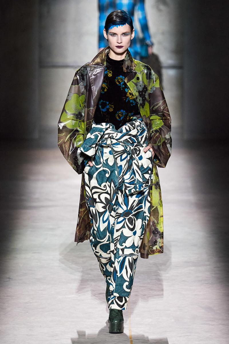 Dries Van Noten Fall/Winter 2020 Collection Runway Show Floral Pants Blue