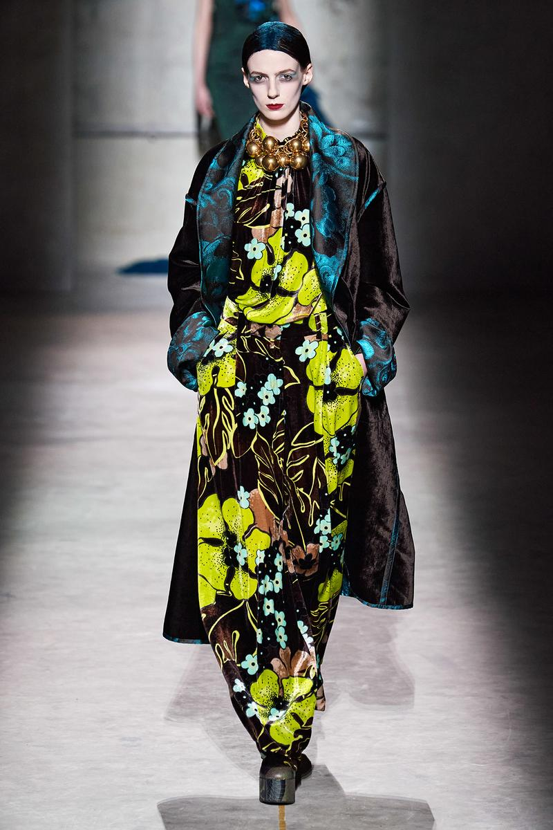 Dries Van Noten Fall/Winter 2020 Collection Runway Show Floral Dres Green Brown