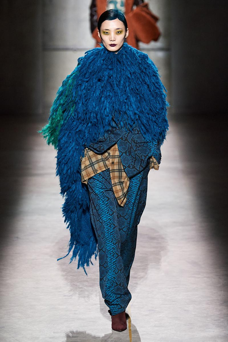 Dries Van Noten Fall/Winter 2020 Collection Runway Show Feather Cape Blue