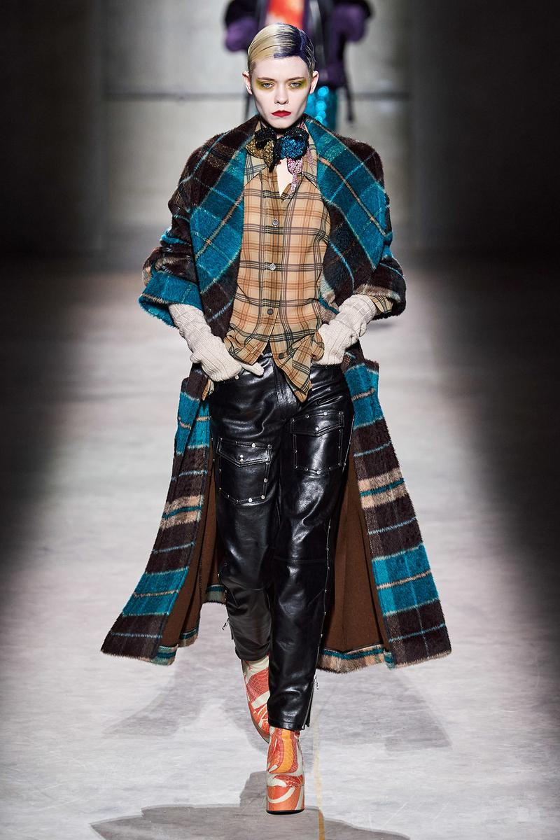 Dries Van Noten Fall/Winter 2020 Collection Runway Show Plaid Coat Blue