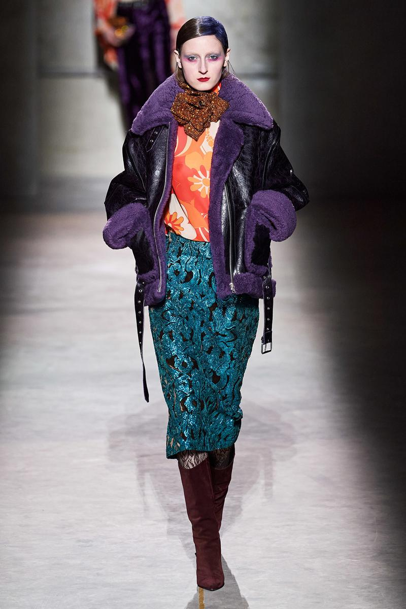 Dries Van Noten Fall/Winter 2020 Collection Runway Show Shearling Jacket Purple