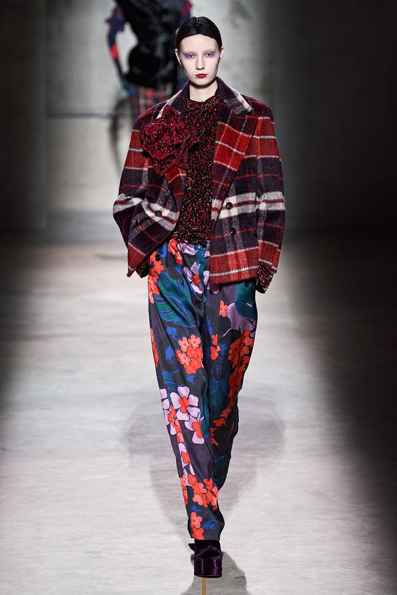 Dries Van Noten Fall/Winter 2020 Collection Runway Show Plaid Jacket Red