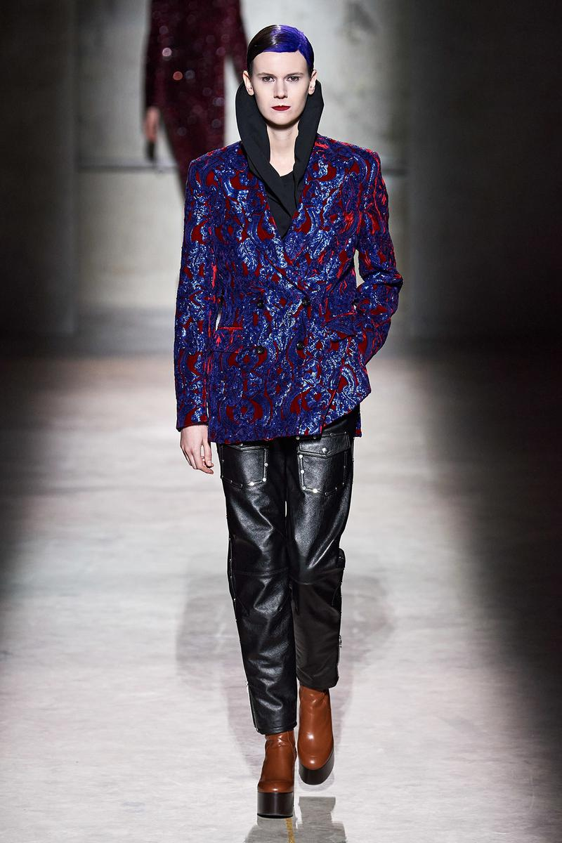 Dries Van Noten Fall/Winter 2020 Collection Runway Show Jacket Purple Leather Pants