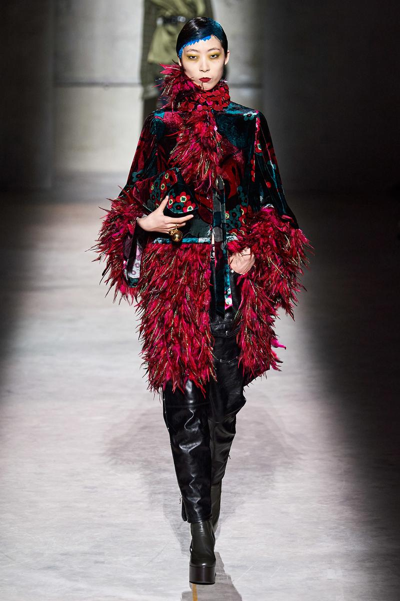 Dries Van Noten Fall/Winter 2020 Collection Runway Show Feather Jacket Red