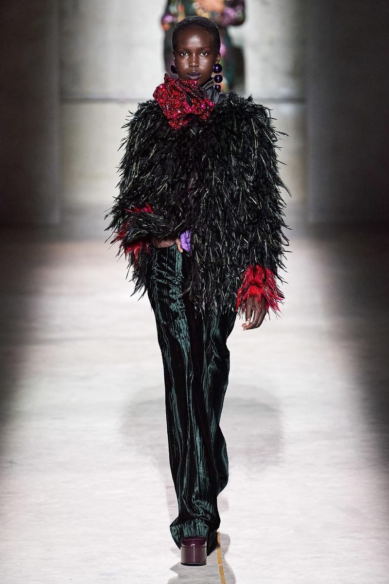 Dries Van Noten Fall/Winter 2020 Collection Runway Show Feather Jacket