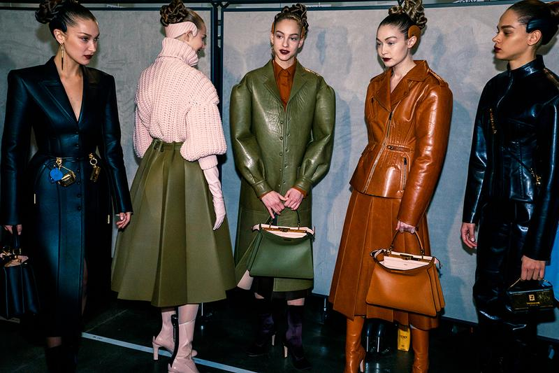 Fendi Fall Winter 2020 FW20 Silvia Venturini Milan Fashion Week Runway Show Backstage Models Bella Gigi Hadid Leather Coat Jacket Black Brown Green Bags Skirt Hair Headband