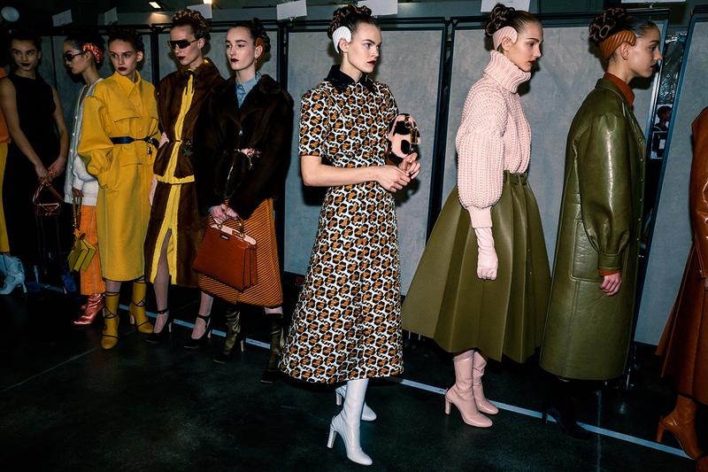 Fendi Fall Winter 2020 FW20 Silvia Venturini Milan Fashion Week Runway Show Backstage Models Cara Taylor Dress
