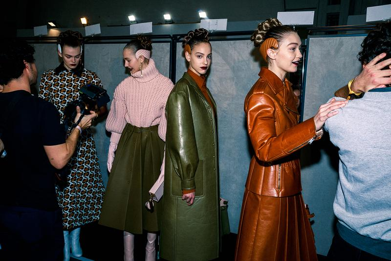 Fendi Fall Winter 2020 FW20 Silvia Venturini Milan Fashion Week Runway Show Backstage Models Gigi Hadid Jacket Coat Leather