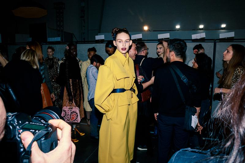 Fendi Fall Winter 2020 FW20 Silvia Venturini Milan Fashion Week Runway Show Backstage Model Yellow Coat