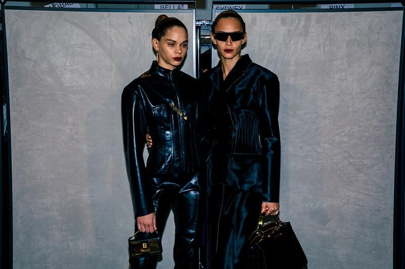 Fendi Fall Winter 2020 FW20 Silvia Venturini Milan Fashion Week Runway Show Backstage Models Black Leather Jacket Sunglasses