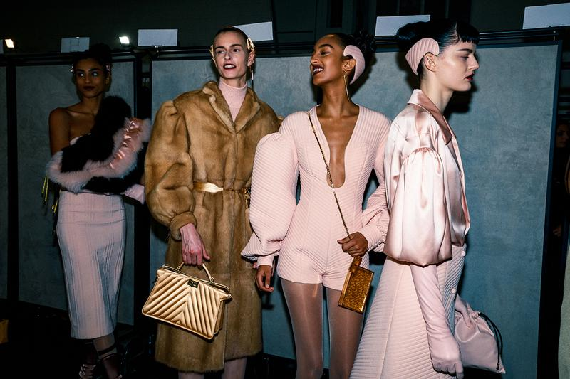 Fendi Fall Winter 2020 FW20 Silvia Venturini Milan Fashion Week Runway Show Backstage Models Mona Tougaard Pink Headband Bags