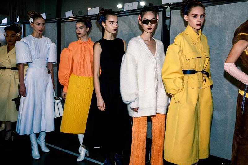 Fendi Fall Winter 2020 FW20 Silvia Venturini Milan Fashion Week Runway Show Backstage Models Yellow Orange White Dress Skirt Top Sunglasses Belt Accessories