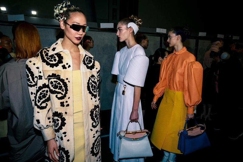 Fendi Fall Winter 2020 FW20 Silvia Venturini Milan Fashion Week Runway Show Backstage Models Soo Joo Park Sunglasses White Headband Bag