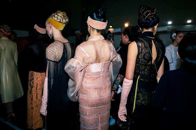 Fendi Fall Winter 2020 FW20 Silvia Venturini Milan Fashion Week Runway Show Backstage Models Pink Headband