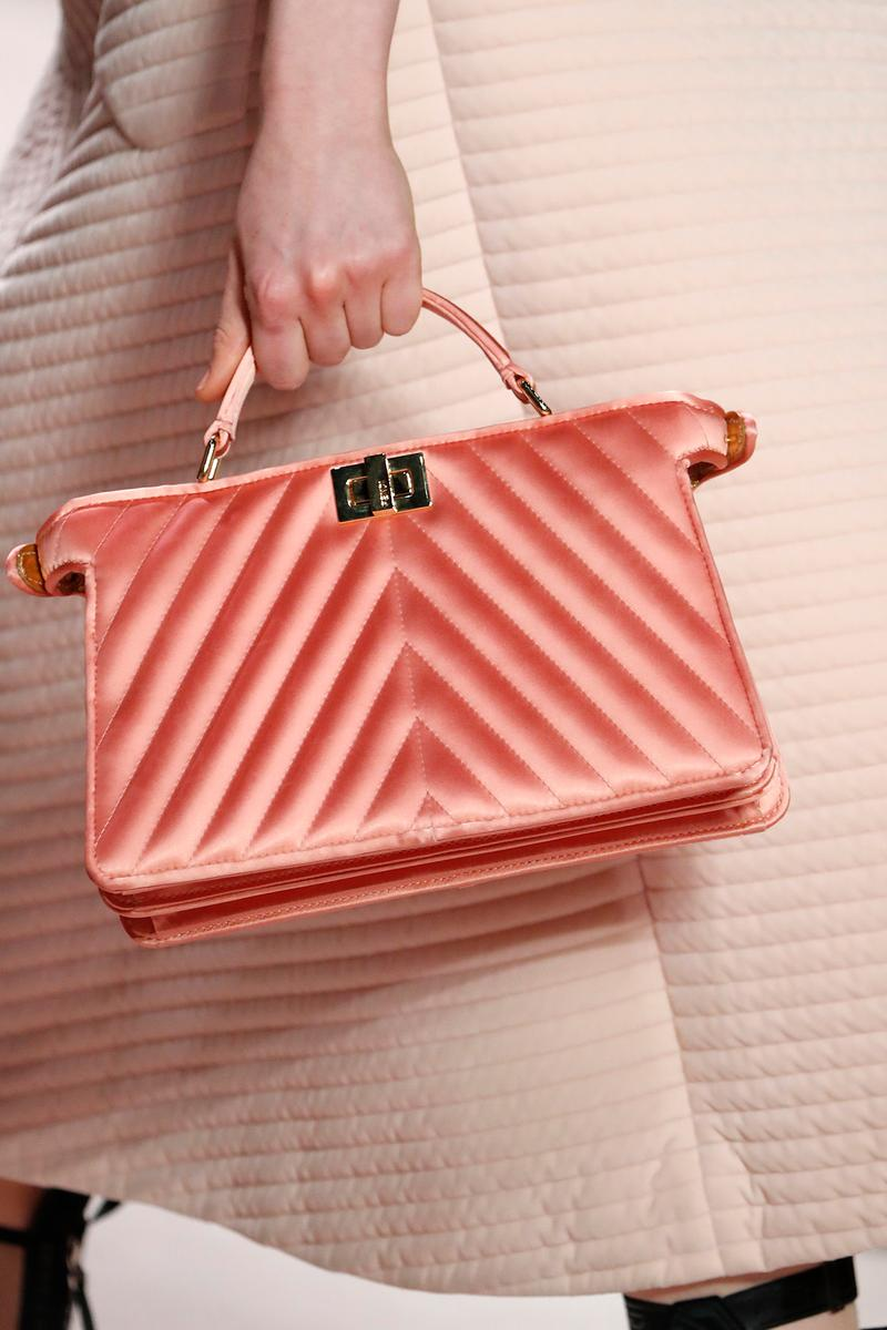Fendi Fall/Winter 2020 Collection Bags Accessories Top Handle Quilted Satin Pink