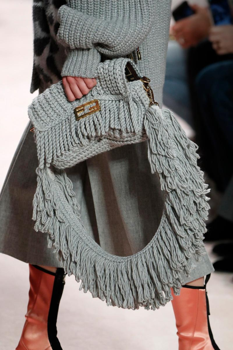 Fendi Fall/Winter 2020 Collection Bags Accessories Baguette Knit Grey