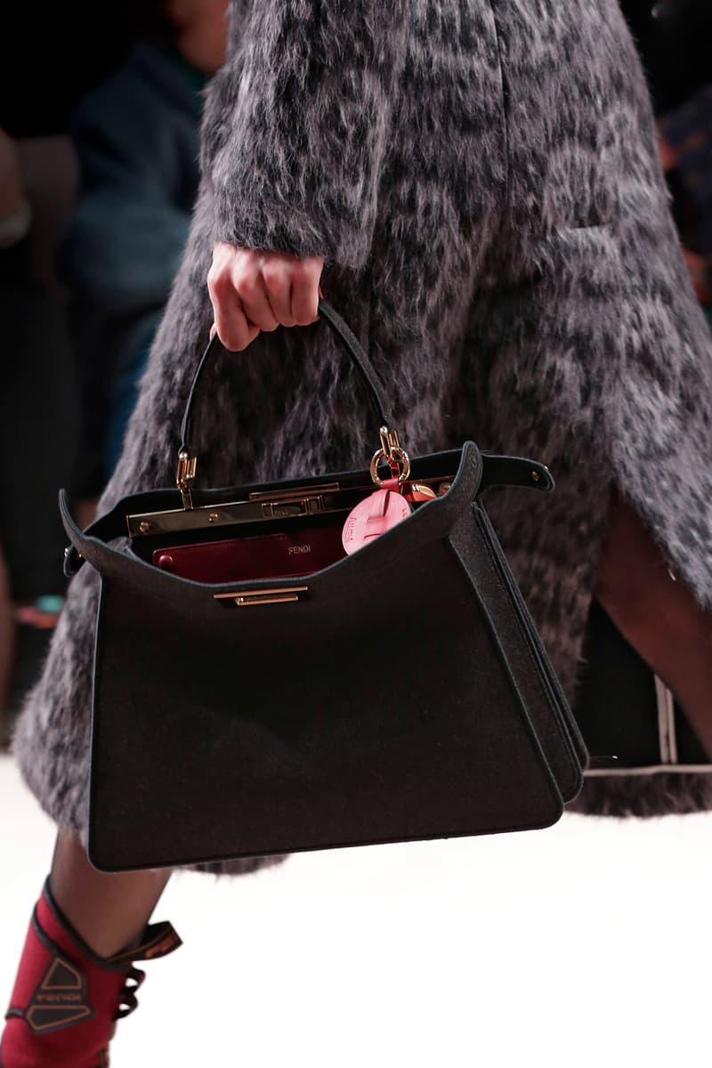 Fendi Fall/Winter 2020 Collection Bags Accessories Peekaboo Wool Grey