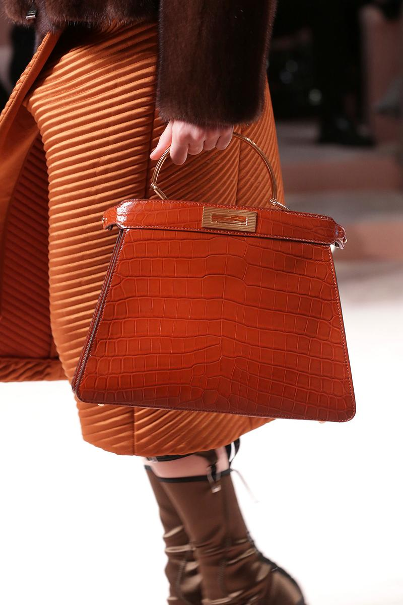 Fendi Fall/Winter 2020 Collection Bags Accessories Top Handle Croc Orange
