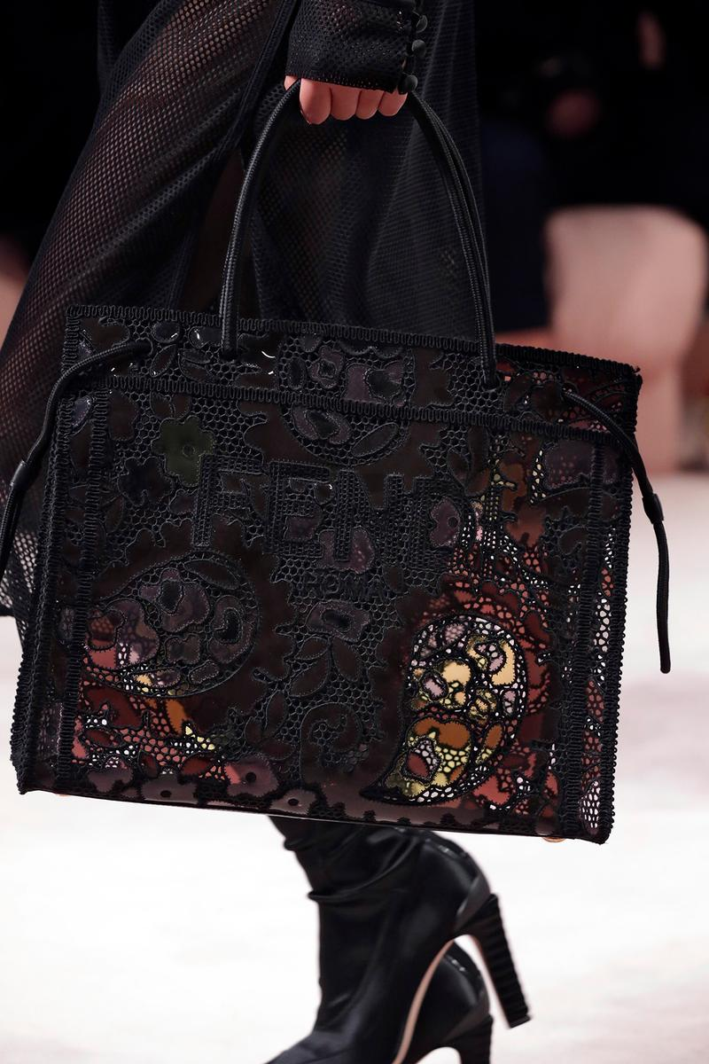 Fendi Fall/Winter 2020 Collection Bags Accessories Tote Floral Lace