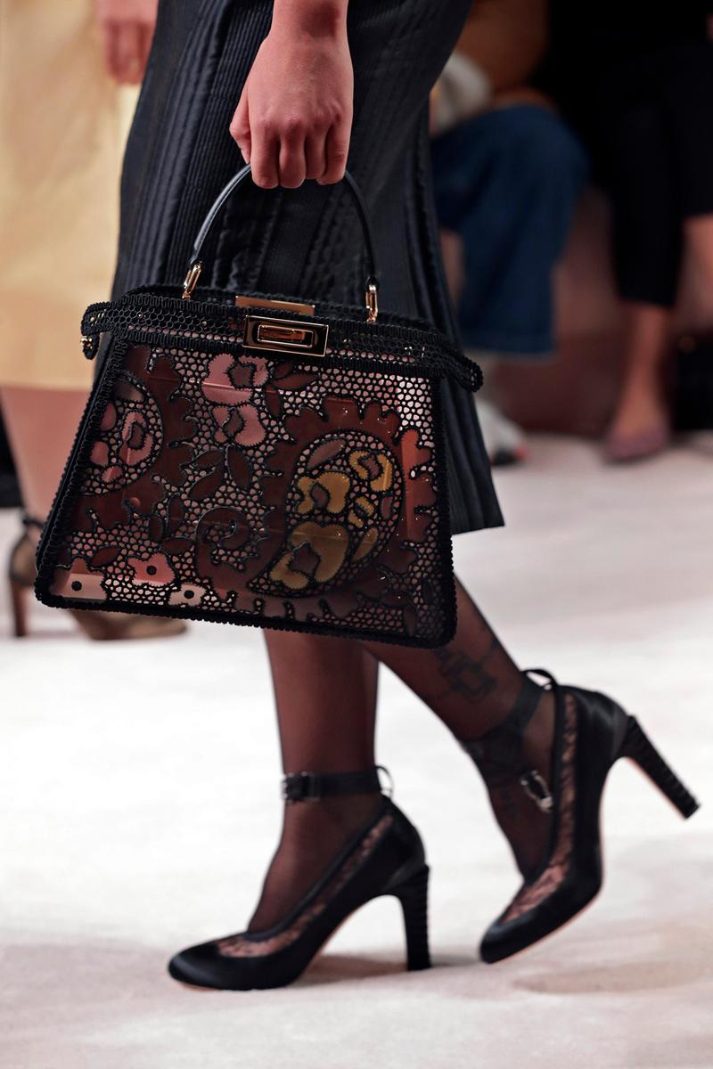 Fendi Fall/Winter 2020 Collection Bags Accessories Peekaboo Floral Lace