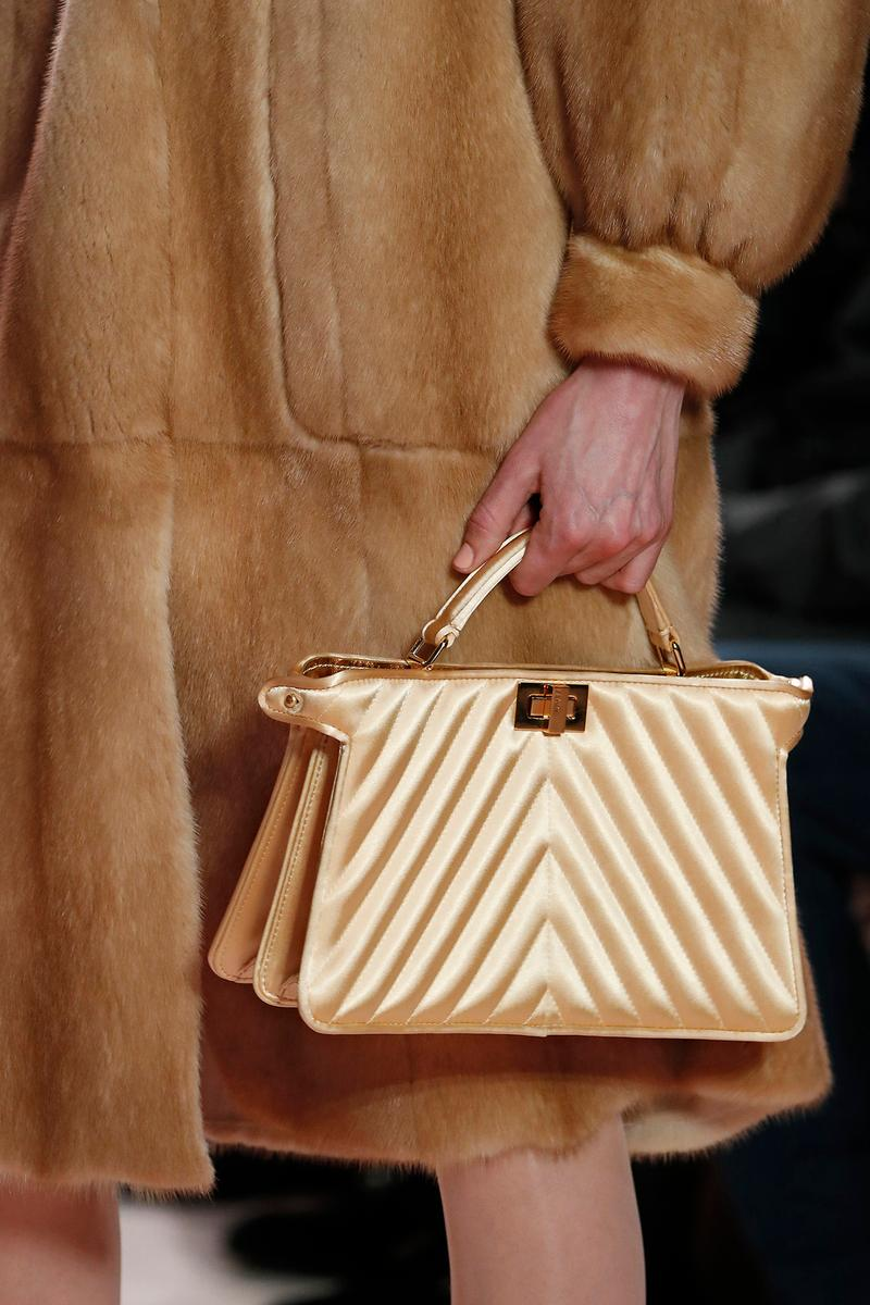 Fendi Fall/Winter 2020 Collection Bags Accessories Top Handle Quilted Satin Yellow