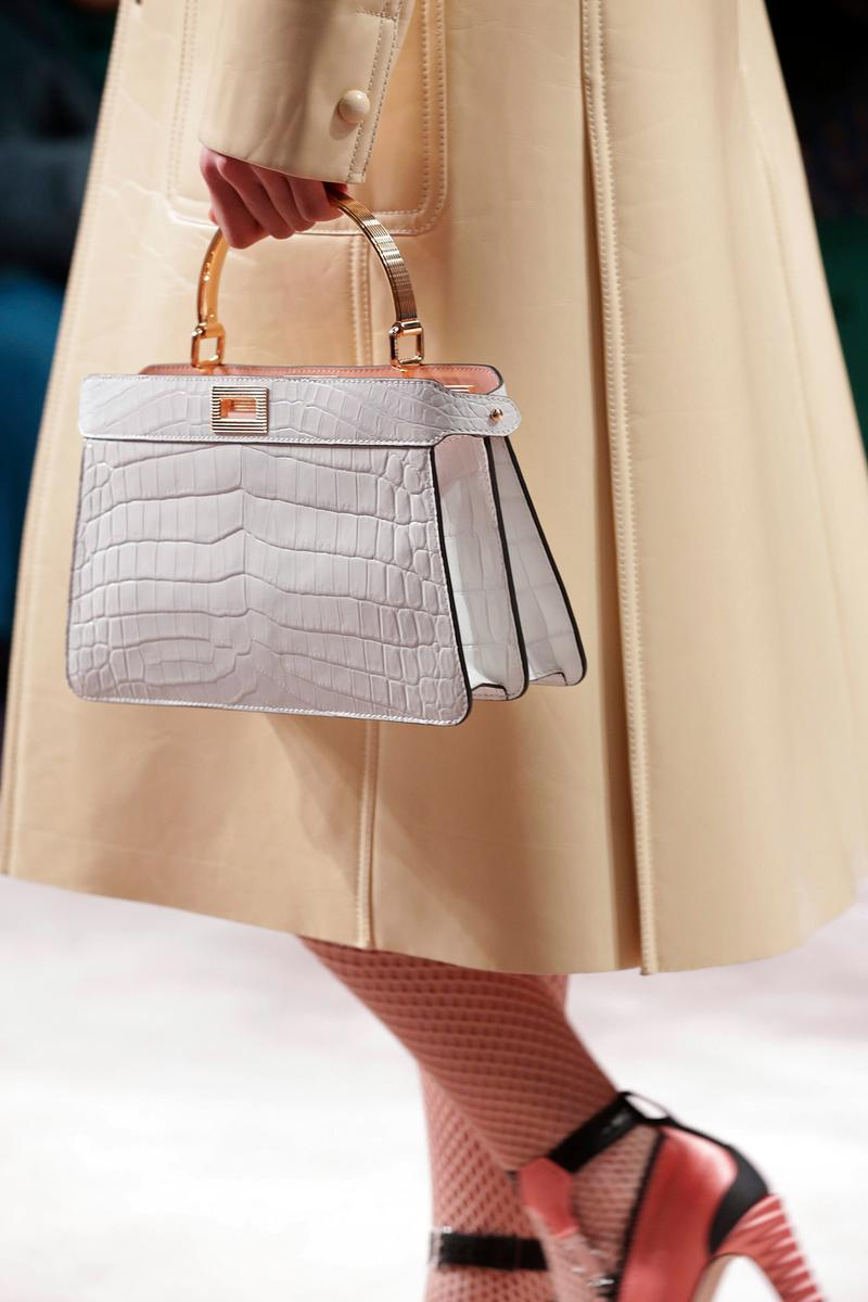 Fendi Fall/Winter 2020 Collection Bags Accessories Top Handle Croc Embossed White