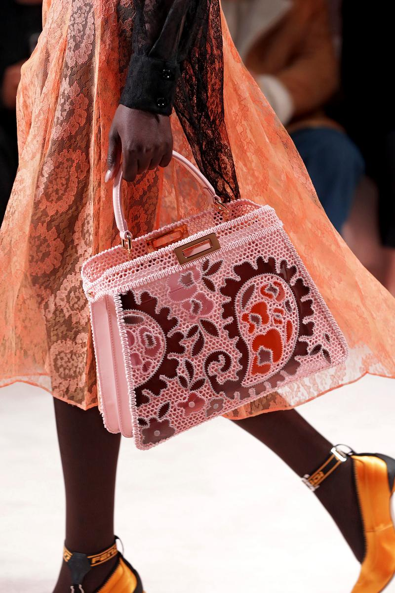 Fendi Fall/Winter 2020 Collection Bags Accessories Peekaboo Paisley Lace Pink