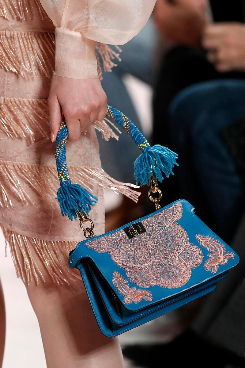 Fendi Fall/Winter 2020 Collection Bags Accessories Top Handle Blue Lace Pink