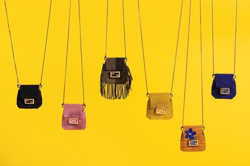 fendi pico baguette designer micro mini bag fringe black pink yellow orange blue