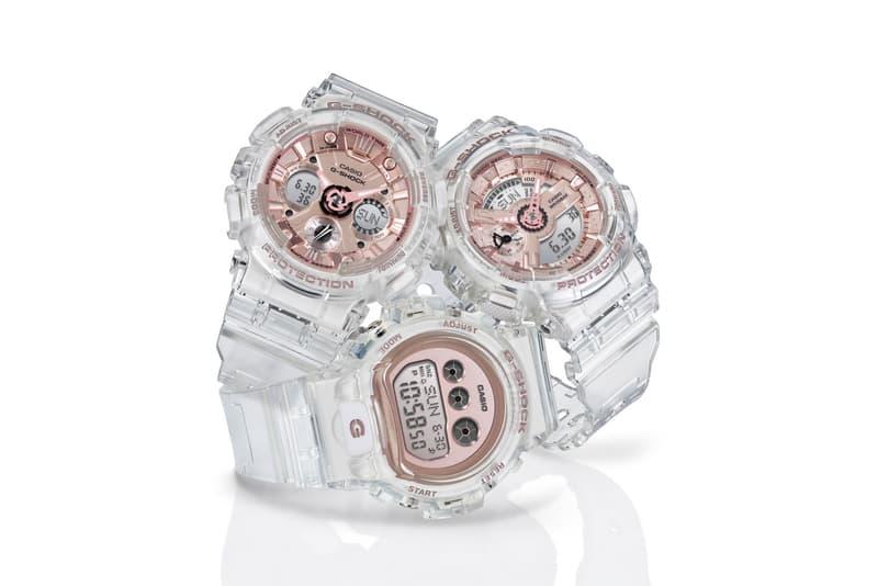 G-SHOCK Transparent x Rose Gold Watch Collection GMAS110 GMAS120 GMDS6900