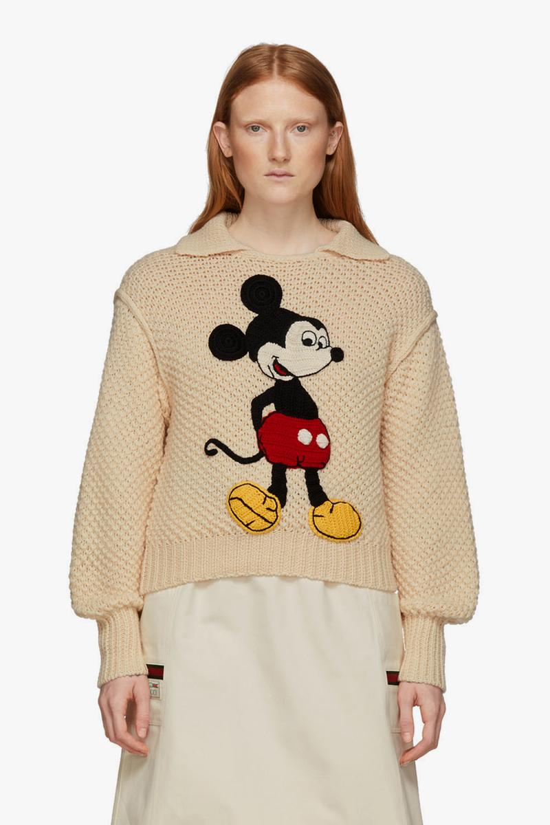 gucci disney collaboration mickey mouse off white ivory wool sweater