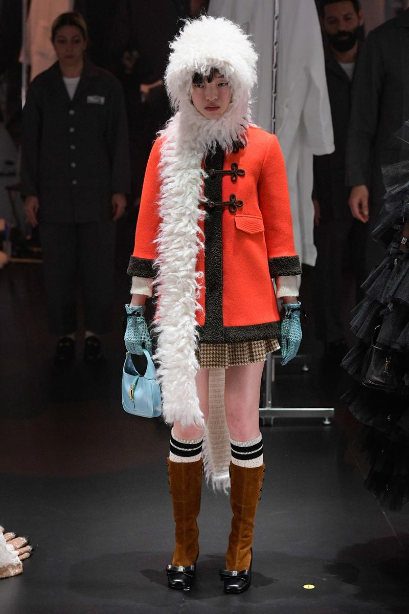 Gucci Fall/Winter 2020 Collection Runway Show Fur Hat Coat Orange
