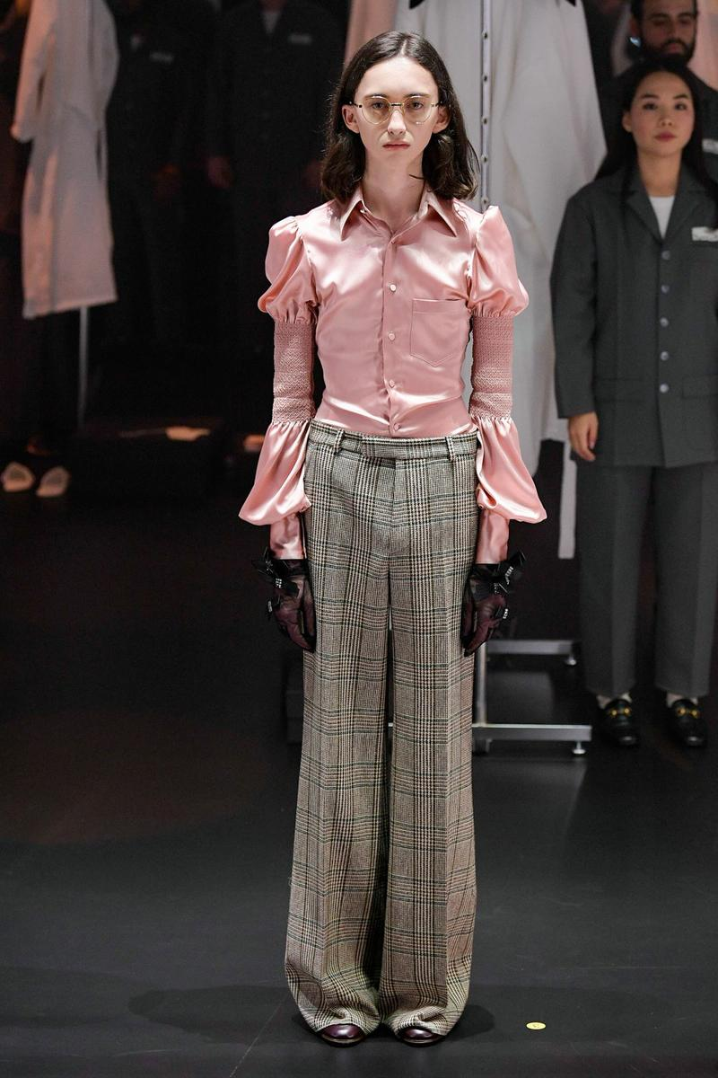 Gucci Fall/Winter 2020 Collection Runway Show Blouse Pink Pants Plaid