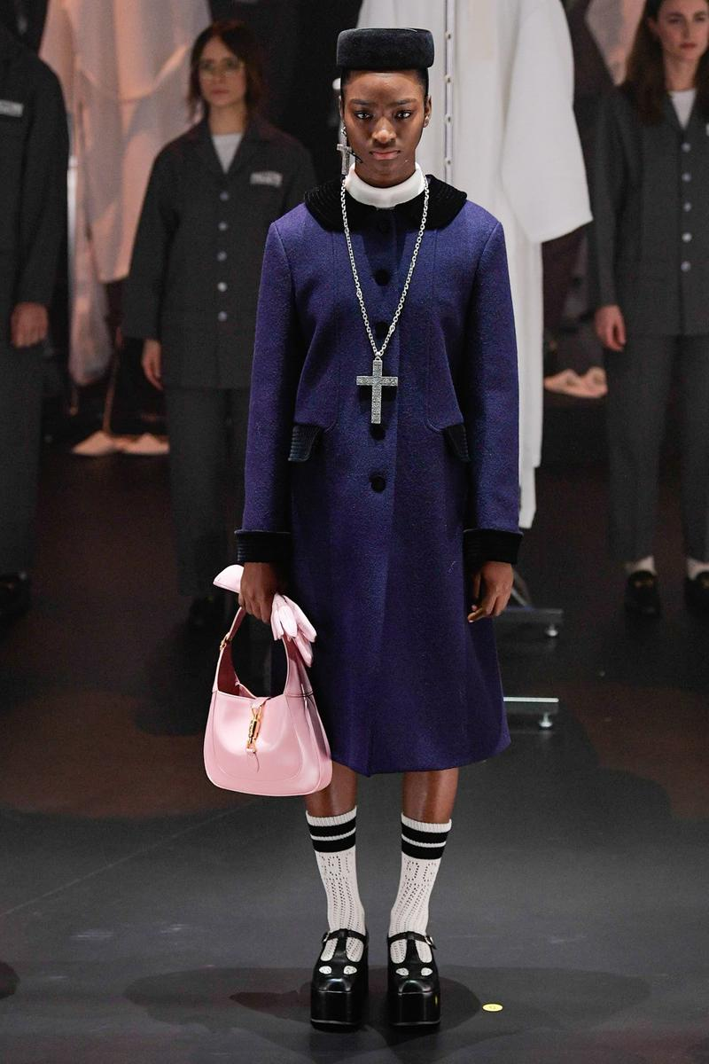 Gucci Fall/Winter 2020 Collection Runway Show Coat Navy Cross Necklace