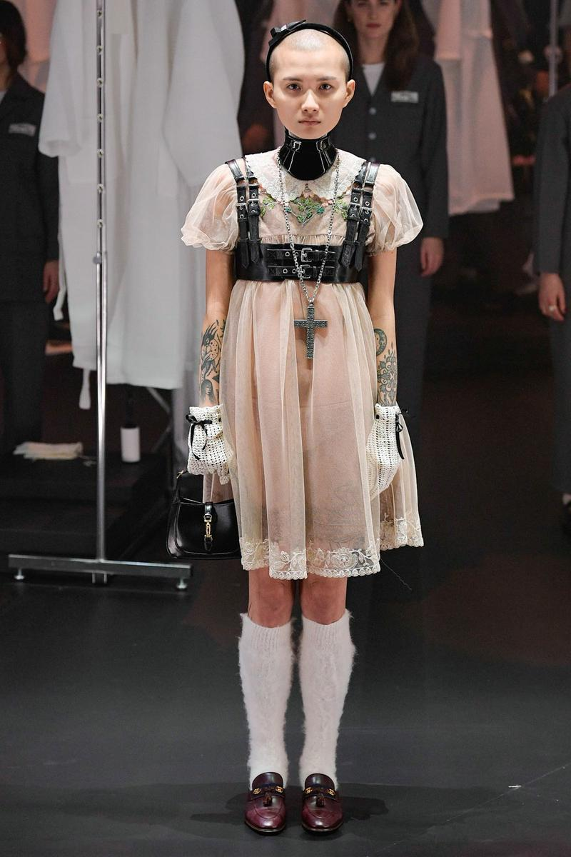Gucci Fall/Winter 2020 Collection Runway Show Harness Dress Sheer